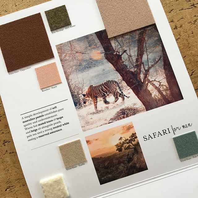 AW 19/20 colour trends: Safari for Men. A simple development of soft masculine pastels establishes pure quality and understatement. Warm but muted tones of taupe and beige sit alongside peach, pale sea and a strong neutral white, oozing a reserved assurance. View all of our autumn/winter trend collections and request fabric samples via our website: hainsworth.co.uk. #colourtrends #aw1920 #autumntrends #wintertrends #design #fashiondesign #fashion #textiles