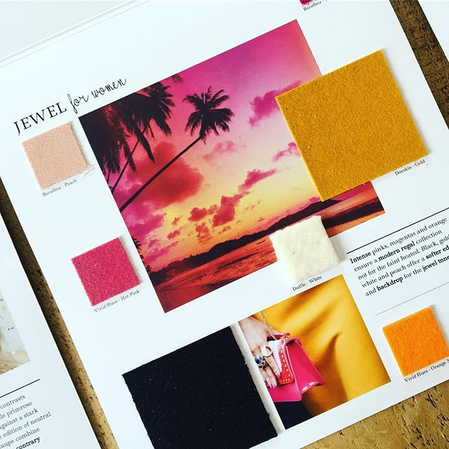 AW 19/20 colour trends: Jewel for Women. Intense pinks, magentas and oranges ensure a modern regal collection not for the faint hearted. Black, gold, white and peach offer a softer edge and backdrop for the jewel tones. Follow the link in our bio to view all of our trend collections and request fabric samples. #colourtrends #aw1920 #fashiontrends #fashioninspiration #fashioninspo #textiles #wooldesign