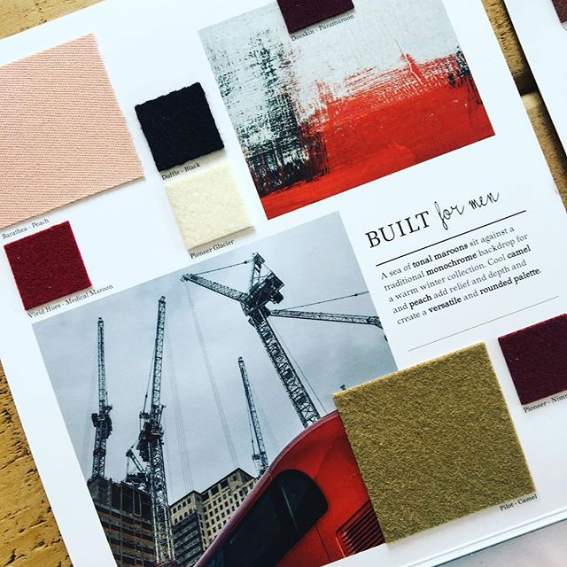 AW 19/20 colour trends: Built for Men. A sea of tonal maroons sit against a traditional monochrome backdrop for a warm winter collection. Cool camel and peach add relief and depth and create a versatile and rounded palette. Follow the link in our bio to view all of our trend collections and request fabric samples. #colourtrends #aw1920 #fashiontrends #fashioninspiration #fashioninspo #colourinspiration #textiles #wooldesign #trends
