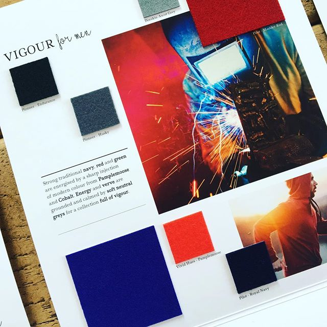 AW 19/20 colour trends: Vigour for Men. Strong traditional navy, red and green are energised by a sharp injection of modern colour from Pamplemousse and Cobalt. Energy and verve are grounded and calmed by soft neutral greys for a collection full of vigour. Follow the link in our bio to view all of our trend collections and request fabric samples. #colourtrends #aw1920 #fashiontrends #fashioninspiration #menswear #mensweardesign #fashioninspo #textiles #wooldesign #choosewool