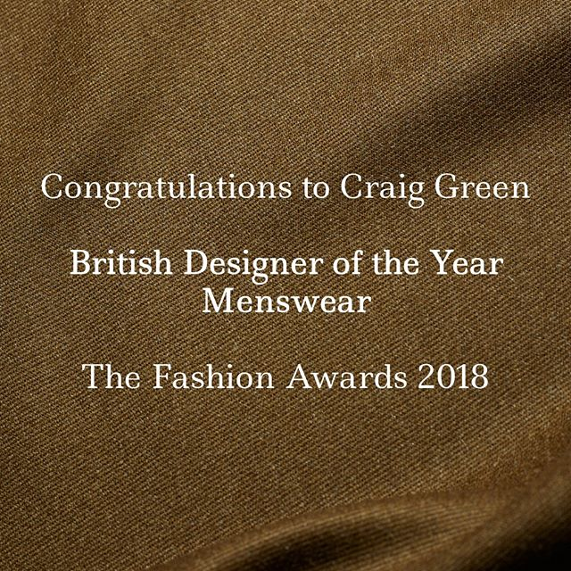 Congratulations @craig__green on your win at the #FashionAwards last night! #mensweardesigner #britishdesigner