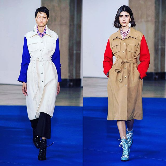 Two of our favourite pieces from the VICTORIA/TOMAS FALL-WINTER '19 collection. After visiting our Mill as part of the #woolmarkprize tour last year, the Parisienne duo selected a number of #Hainsworth fabrics for their #AW19 collection, including Vivid Hues Camel, Cobalt and Scarlet, and True Heritage White Velcarb for these beautiful coats. #britishtextiles #merinowool #fashiondesigner #womensweardesigner #tailoring