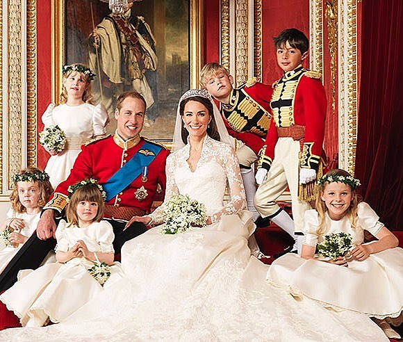 Happy 8th Anniversary to The Duke and Duchess of Cambridge 🍾  We love this photo of the happy couple with their flower girls and page boys on their wedding day, William and the boys resplendent in #Hainsworth cloth. #RoyalWedding #britishroyals #madeinyorkshire #choosewool