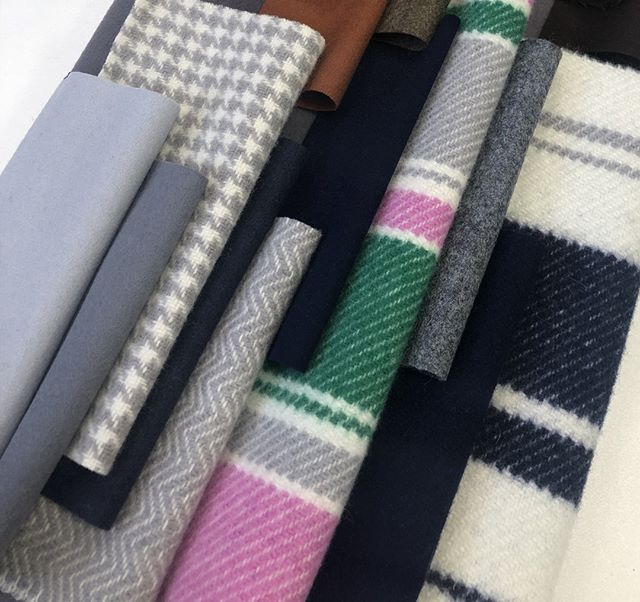Our soft yet structured #Duffle fabric has become one of our most coveted qualities in recent years. In response, we've developed a range of new Duffle concepts, from striped to dogtooth, to provide inspiration and demonstrate the many bespoke weave options available.  For bespoke designs and colours there is a minimum order of one piece. Please get in touch for further information. #fashiondesign #fabric #luxuryfabrics#clothmerchant #fashiondesigner #fashion #choosewool