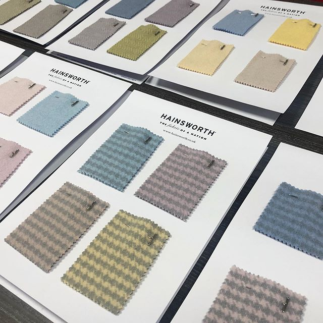 Visiting @milanounica_mu this week? Stop by our stand (F35) & take a look at these beautiful colour samples of our new Duffle concepts.  Did you know that we can match custom colours in our on-site dye lab to create your very own bespoke shade of fabric? Visit our stand to find our more, or get in touch via our website www.hainsworth.co.uk/contact #milanounica #milanounica2019 #luxuryfabrics