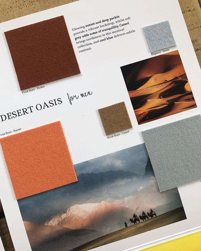 AW 20/21 colour trends: Desert Oasis for Men. Glowing sunset and deep parkin provide a vibrant backdrop, whilst soft grey adds notes of tranquillity. Camel brings earthiness to this mystical collection, and cool blue delivers subtle contrast. View all of our #Autumn #Winter #trend collections and request fabric samples using the link in our bio. #colourtrends #aw2021 #autumntrends  #wintertrends  #design #fashiondesign  #fashion #fashiontrends #fashiondesigner #textiles #luxuryfabrics #wool