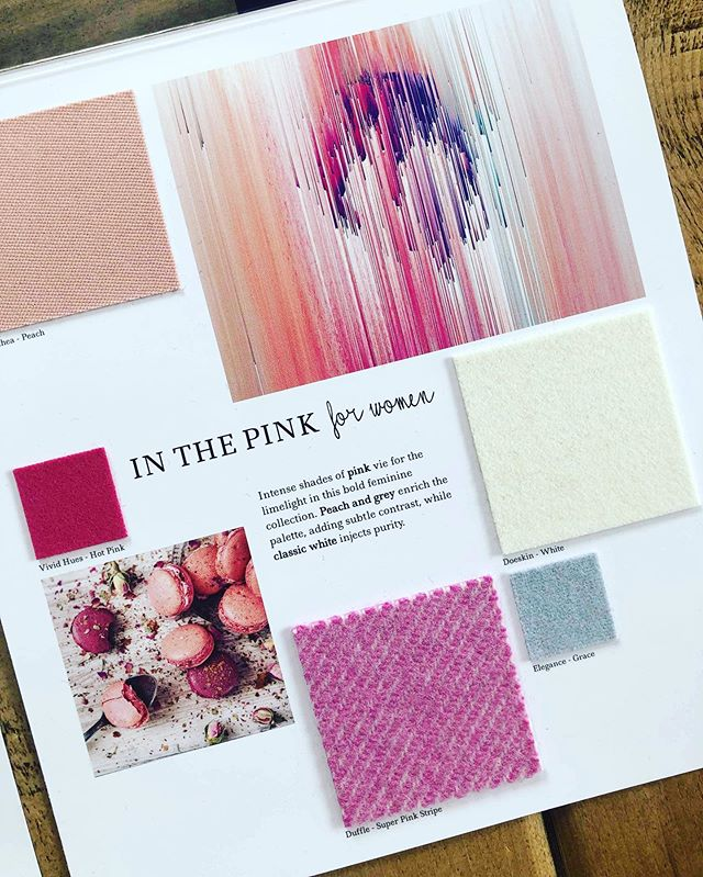 AW 20/21 colour trends: In the Pink for Women. Intense shades of pink vie for the limelight in this bold feminine collection. Peach and grey enrich the palette, adding subtle contrast, while classic white injects purity. Follow the link in our bio to view all of our #Autumn #Winter #trend collections and request fabric samples. #colourtrends #aw2021 #autumntrends #wintertrends  #design #fashiondesign  #fashion #fashiontrends #textiles #luxuryfabric #luxuryfabrics