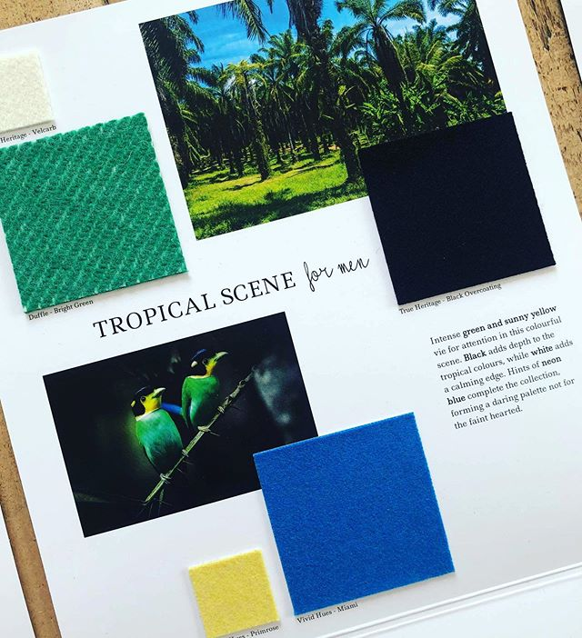 AW 20/21 colour trends: Tropical Scene for Men. Intense green and sunny yellow vie for attention in this colourful scene. Black adds depth to the tropical colours, while white adds a calming edge. Hints of neon blue complete the collection, forming a daring palette not for the faint hearted. Follow the link in bio to view all of the #aw2021 trend collections and order samples. #colourtrends #autumntrends  #wintertrends  #design #fashiondesign  #fashion #fashiontrends #textiles #choosewool #fabricofanation
