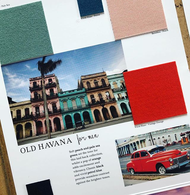 AW 20/21 colour trends: Old Havana for Men. Soft peach and pale sea green set the tone for this laid back collection, whilst a pop of orange adds excitement and vibrancy. Classic black and vivid petrol blue provide seamless contrast against the brighter tones. Follow the link in our bio ⬆️ to view all of our #Autumn #Winter #trend collections and request fabric samples. #colourtrends #aw2021 #autumntrends  #wintertrends  #design #fashiondesign  #fashion #fashiontrends #choosewool #wool #designinspiration #inspiration