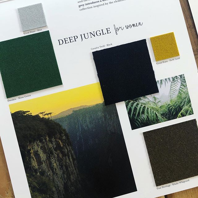 AW 20/21 colour trends: Deep Jungle for Women. Mossy green and khaki intertwine to give this palette depth and earthiness. A pop of yellow gold adds rich contrast, and grey introduces a softer undertone. Strong black finishes this collection inspired by the elements of the jungle. View all of our #Autumn #Winter #trend collections and request fabric samples using the link in our bio. #colourtrends #aw2021 #autumntrends #wintertrends #design #fashiondesign #fashiondesigner  #fashion #fashiontrends #textiles #choosewool #inspiration
