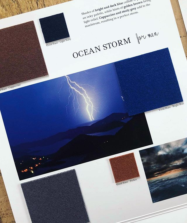 AW 20/21 colour trends: Ocean Storm for Men. Shades of bright and dark blue collide to produce an inky palette, while hints of golden brown bring light relief. Cappuccino and steely grey add to the maelstrom, resulting in a perfect storm. Follow the link in our bio above to view all of the #aw2021 trend collections and order samples. #autumntrends #wintertrends  #design #fashiondesign  #fashion #fashiontrends #textiles #choosewool
