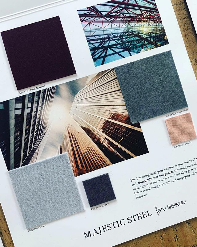The final of our AW 20/21 colour trends: Majestic Steel for Women. The imposing steel grey skyline is punctuated by rich burgundy and soft peach, standing majestically in the glow of the winter sun. Soft blue grey tones inject comforting warmth and deep grey adds contrast. Follow the link in our bio to view all of our #Autumn #Winter #trend collections and request fabric samples. #colourtrends #aw2021 #autumntrends  #wintertrends  #design #fashiondesign  #fashion #fashiontrends #textiles #wool #choosewool