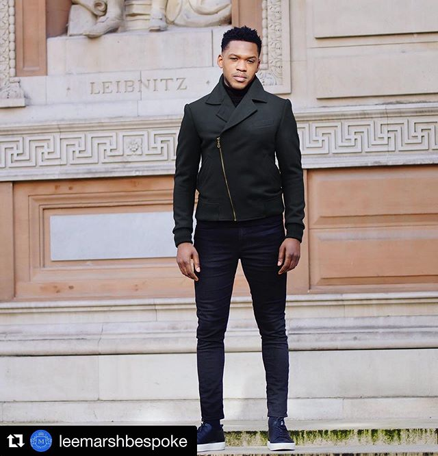 "The DB Bomber from @leemarshbespoke, created using Black Pilot Cloth 🖤 #Repost @leemarshbespoke with @get_repost ・・・ Ready to Wear Double Breasted bomber AKA ""DBB Classic "" model: @thedejaview cloth:""Pilot"" Black @awhainsworth"