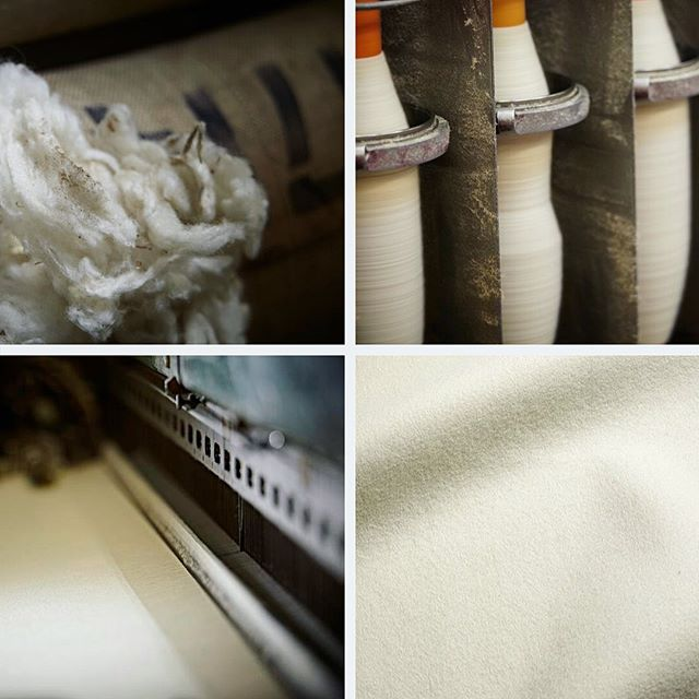 As one of the last remaining fully vertical woollen mills in the UK, we carry out every manufacturing process from our site in West Yorkshire. From the selection of raw wool through to blending, spinning, weaving, dyeing and finishing, our knowledge and craftsmanship is apparent in every piece of finished cloth which leaves the mill. #fabricofanation #woollenmill #wool #choosewool #verticalmill #hainsworth #weavingprocess