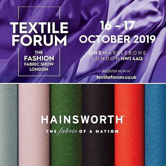 We're back at @textile_forum next week showcasing our latest collection. Drop by our stand to view our range of premium woollen fabrics for #fashion and #tailoring including the newest on-trend colours for the upcoming season. Wednesday 16th – Thursday 17th October  One Marylebone, London #fashiondesign #fashiondesigner #textiles #luxuryfabrics #clothmerchant #fabricofanation #textileforum