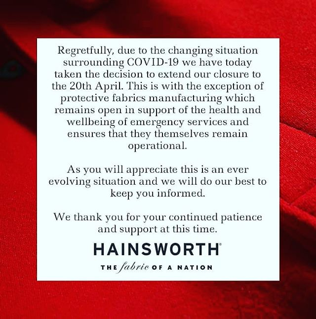 We wanted to keep you updated with our situation with COVID-19, we are sorry to say we will now be closed until the 20th April. You are still most welcome to request samples via our website and to use the contact form with any enquiries. We will continue to post content which we hope you find valuable. Please continue to check our website for further updates. Thank you